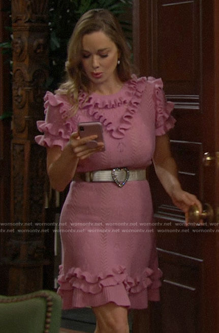 Donna's pink ruffled pointelle knit dress on The Bold and the Beautiful