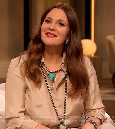 Drew's beige button down shirt and pants on The Drew Barrymore Show