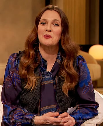 Drew's floral blouse and plaid pants on The Drew Barrymore Show