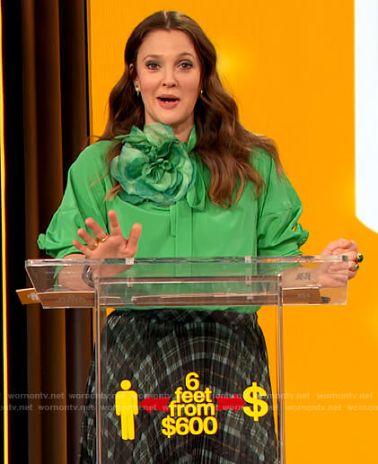 Drew's green tie neck blouse on The Drew Barrymore Show