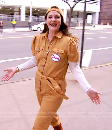 Drew's mustard jumpsuit on The Drew Barrymore Show