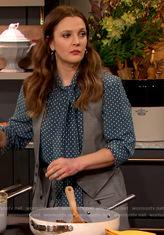Drew's blue polka dot blouse and vest on The Drew Barrymore Show