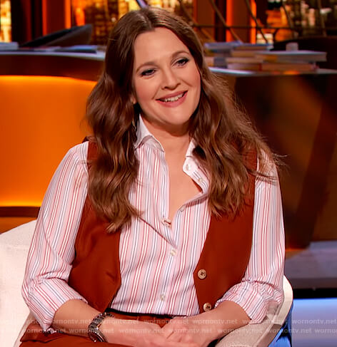 Drew's stripe button down shirt and vest on The Drew Barrymore Show