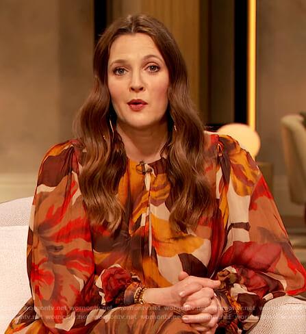 Drew's orange floral print dress on The Drew Barrymore Show