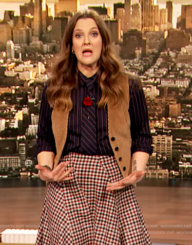 Drew's blue stripe blouse and gingham check skirt on The Drew Barrymore Show