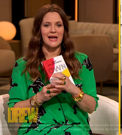 Drew's green panther print blouse and pants on The Drew Barrymore Show