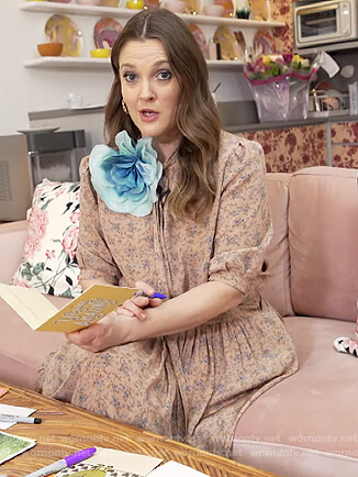 Drew's pink tie neck blouse and skirt on The Drew Barrymore Show