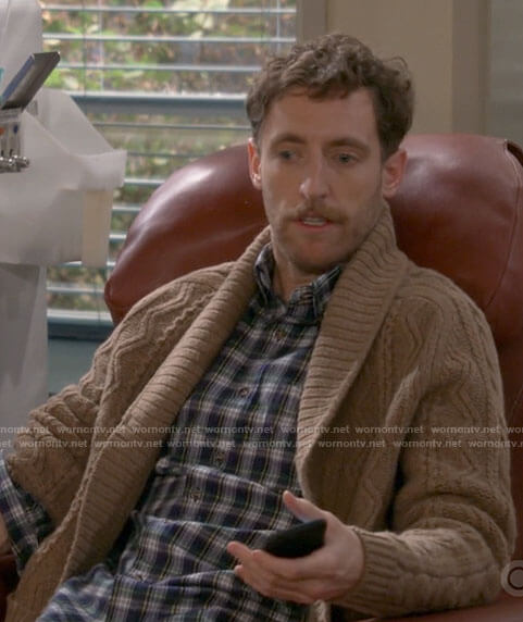 Drew's plaid shirt and brown cable knit cardigan on B Positive