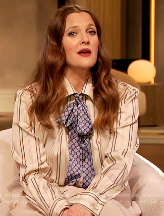 Drew's stripe blouse and pants on The Drew Barrymore Show