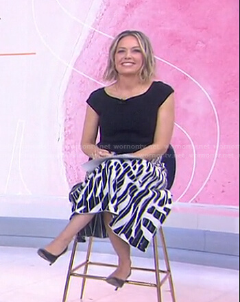 Dylan's black and white printed skirt on Today
