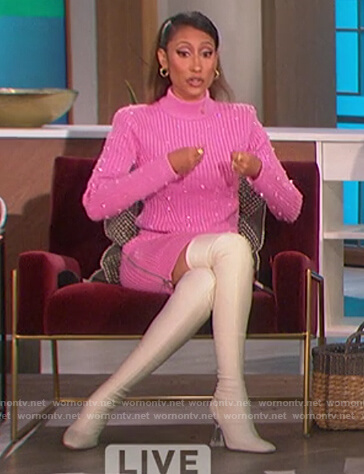 Elaine's pink embellished sweater and skirt on The Talk