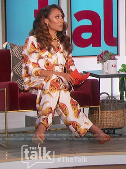 Elaine's printed blouse and pants on The Talk