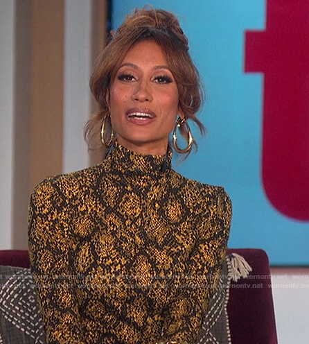 Elaine's yellow snakeskin turtleneck dress on The Talk