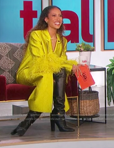 Elaine's yellow coat with feather cuffs on The Talk