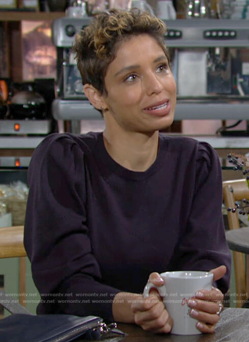 Elena's navy puff sleeve sweater on The Young and the Restless