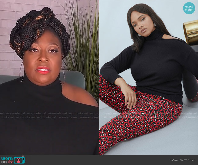 Cold Shoulder Sweater by Eloquii worn by Loni Love  on The Real
