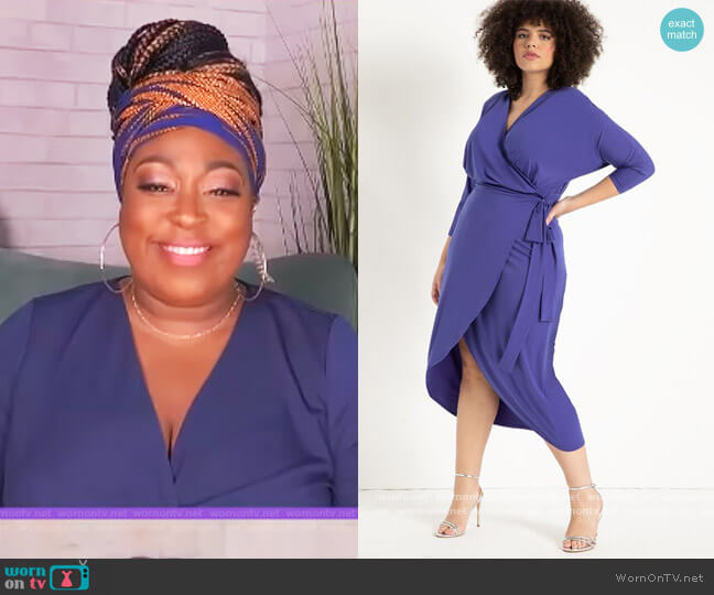 Sharp Shoulder Wrap Dress by Eloquii worn by Loni Love  on The Real