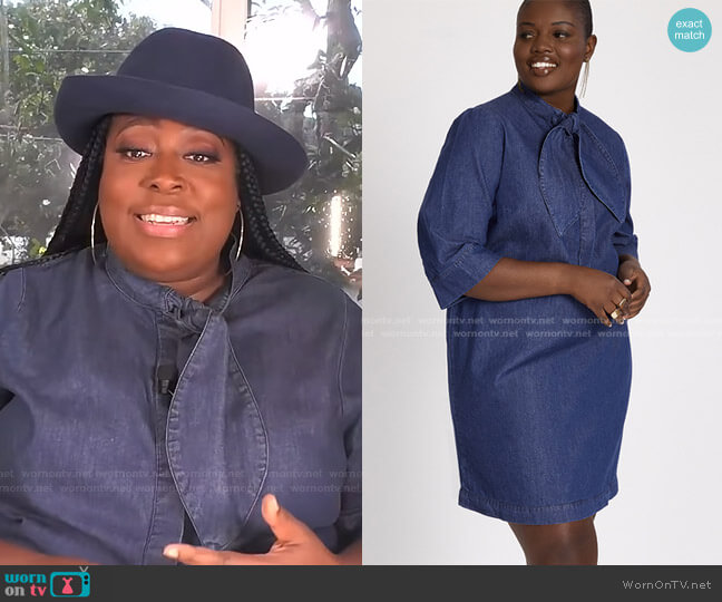 Tie Neck Denim Dress by Eloquii worn by Loni Love  on The Real