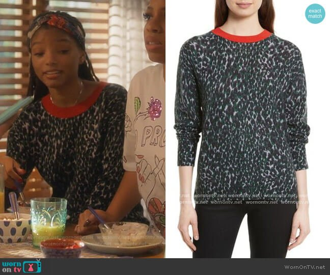 Melanie Leopard Print Cashmere Sweater by Equipment worn by Skylar Forster (Halle Bailey) on Grown-ish