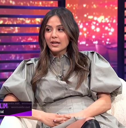 Erin's grey puff sleeve shirtdress on E! News Nightly Pop