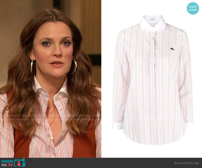 Striped Cotton Shirt by Etro worn by Drew Barrymore on Today