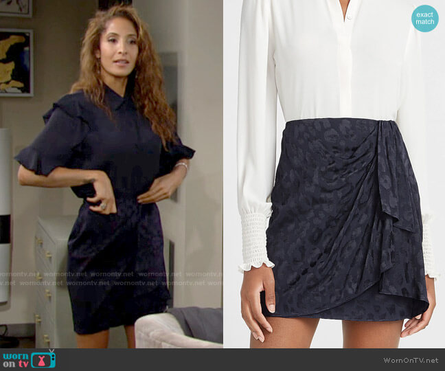Express High Waisted Leopard Jacquard Mini Skirt worn by Lily Winters (Christel Khalil) on The Young & the Restless