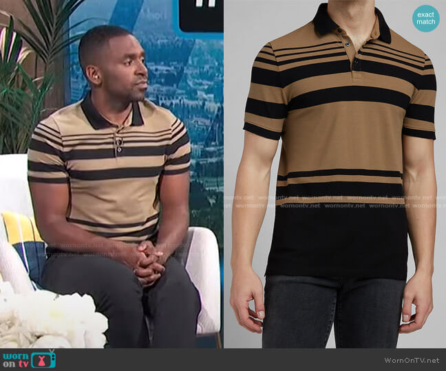 Striped Luxe Pique Polo by Express worn by Justin Sylvester  on E! News