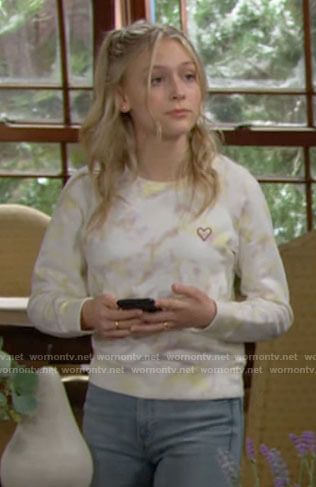Faith's tie dye sweatshirt with heart on The Young and the Restless