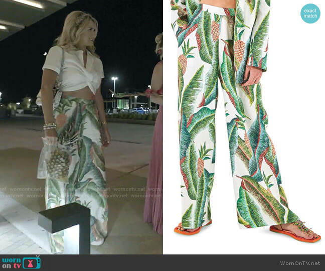 Forest Palm Linen Pants by Farm Rio worn by Kary Brittingham  on The Real Housewives of Dallas