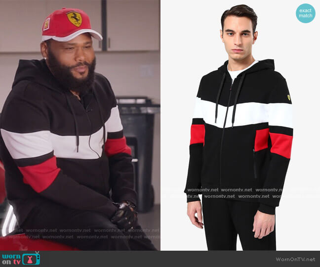 Sweatshirt with contrasting inserts by Ferrari worn by Andre Johnson (Anthony Anderson) on Blackish