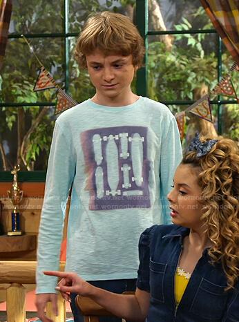 Finn's blue skateboard print long sleeve tee on Bunkd