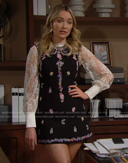 Flo's white lace top and black floral mini dress on The Bold and the Beautiful