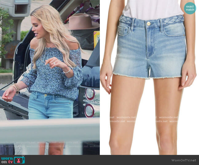 Le Cutoff Braid Waist Denim Shorts by Frame worn by Jackie Goldschneider  on The Real Housewives of New Jersey