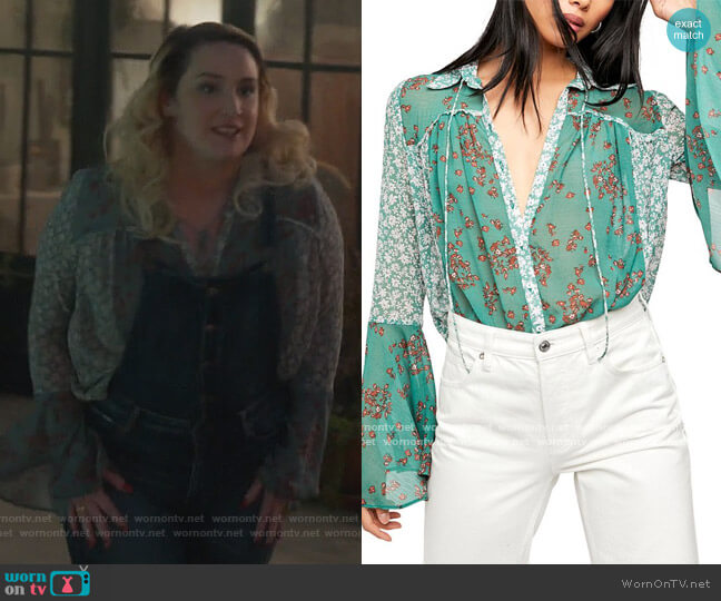 Serena Printed Blouse by Free People worn by Davia (Emma Hunton) on Good Trouble