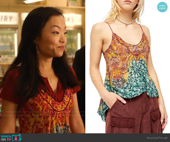 Way You Walk Print Camisole by Free People worn by Janet (Andrea Bang) on Kims Convenience