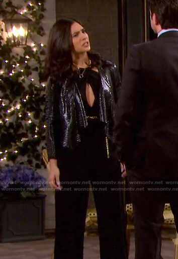 Gabi's black cutout jumpsuit and crocodile draped jacket on Days of our Lives