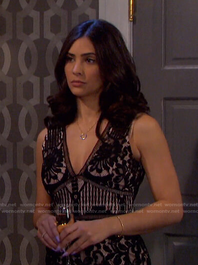 Gabi's black lace jumpsuit on Days of our Lives
