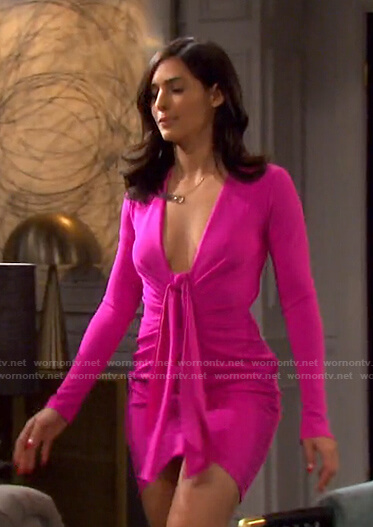 Gabi's pink tie front plunge neck mini dress on Days of our Lives