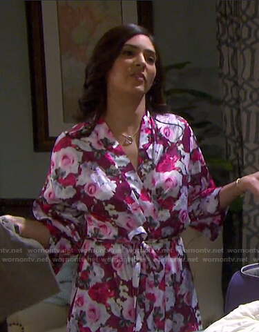 Gabi's purple floral robe on Days of our Lives