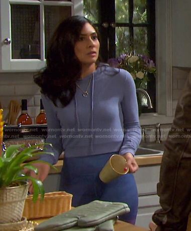 Gabi's lilac hoodie and tie dye leggings on Days of our Lives