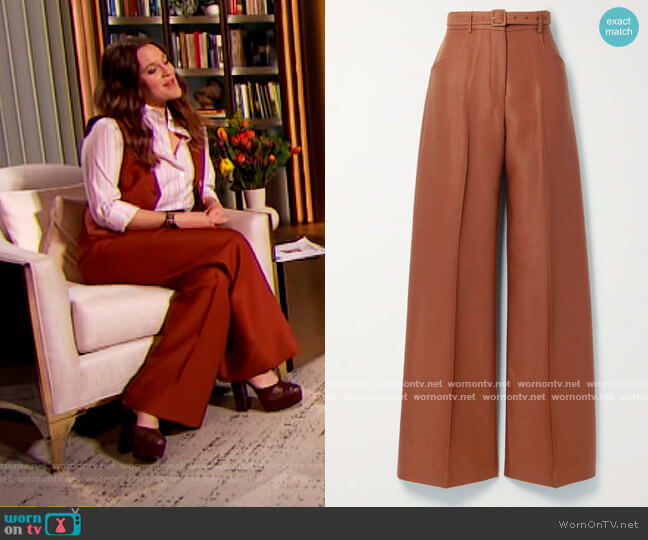 Norman belted wool and silk-blend twill wide-leg pants by Gabriela Hearst worn by Drew Barrymore  on The Drew Barrymore Show