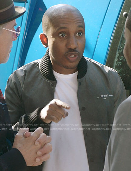 Gary's grey bomber jacket on Kenan