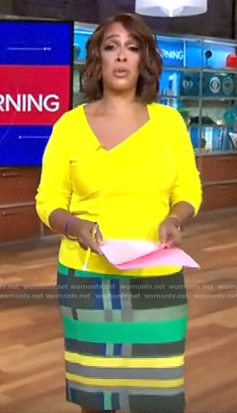 Gayle King's yellow asymmetric sweater and geometric skirt on CBS This Morning