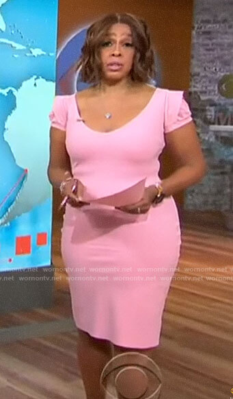 Gayle King's light pink short sleeve dress on CBS This Morning
