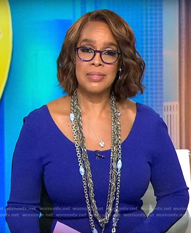Gayle King's purple long sleeved dress with black back on CBS This Morning