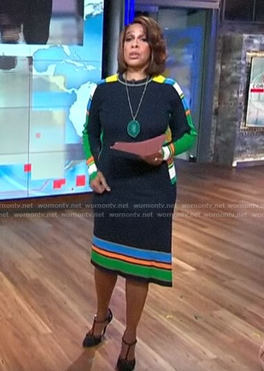 Gayle King's navy striped sweater and skirt set on CBS This Morning