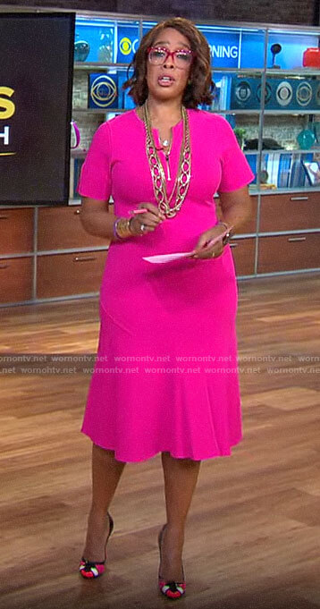 Gayle King's pink short sleeve zip front dress on CBS This Morning