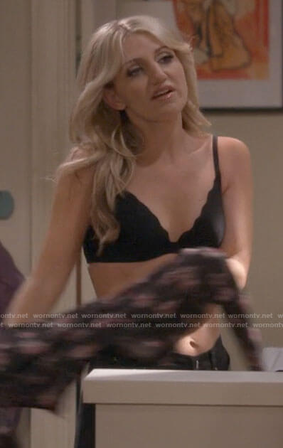 Gina's black scalloped bra on B Positive