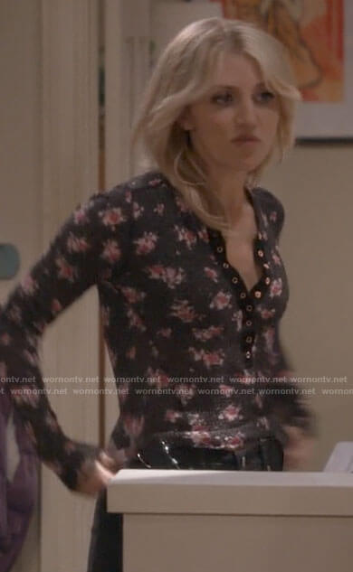Gina's black floral thermal top on B Positive