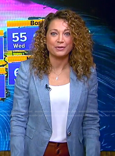 Ginger's blue blazer and brown leather pants on Good Morning America